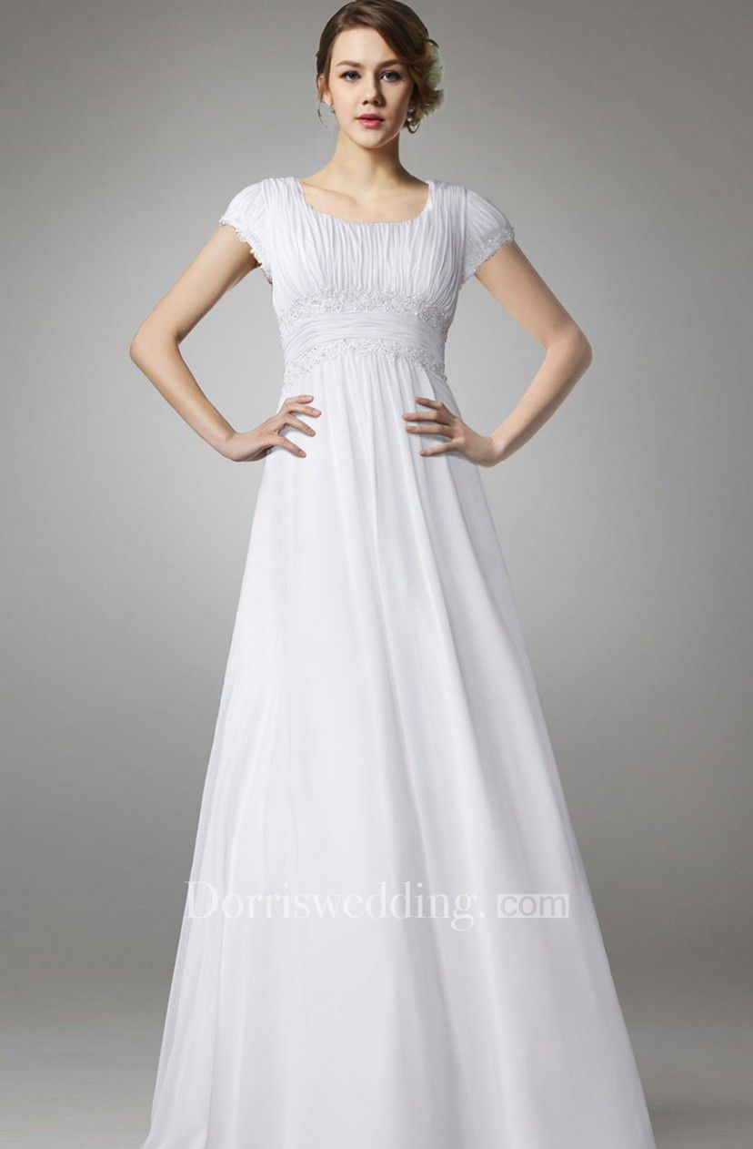 Aline chiffon long wedding dress with empire waist in