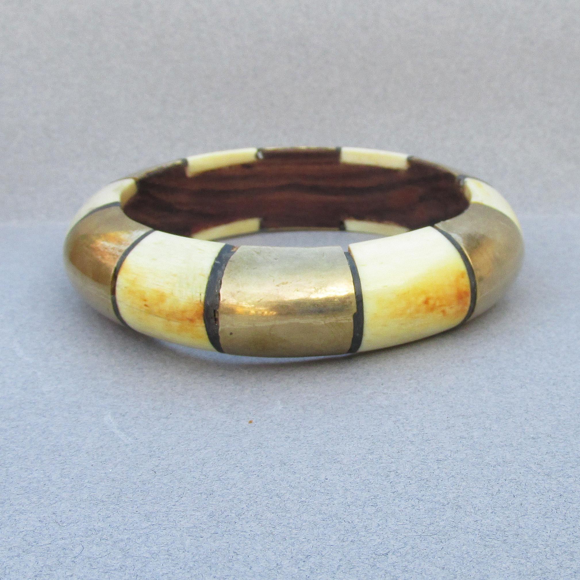 1970s bangle bracelet brass with bone inlay bangle