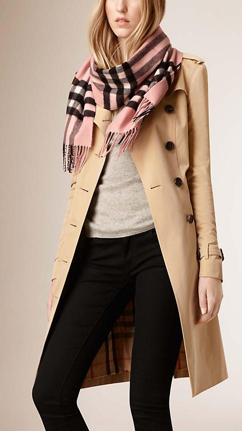Burberry Classic Cashmere Scarf in check is made at a 200-year-old mill in  the Scottish countryside. Monogram yours at Burberry.com aa558576182f4