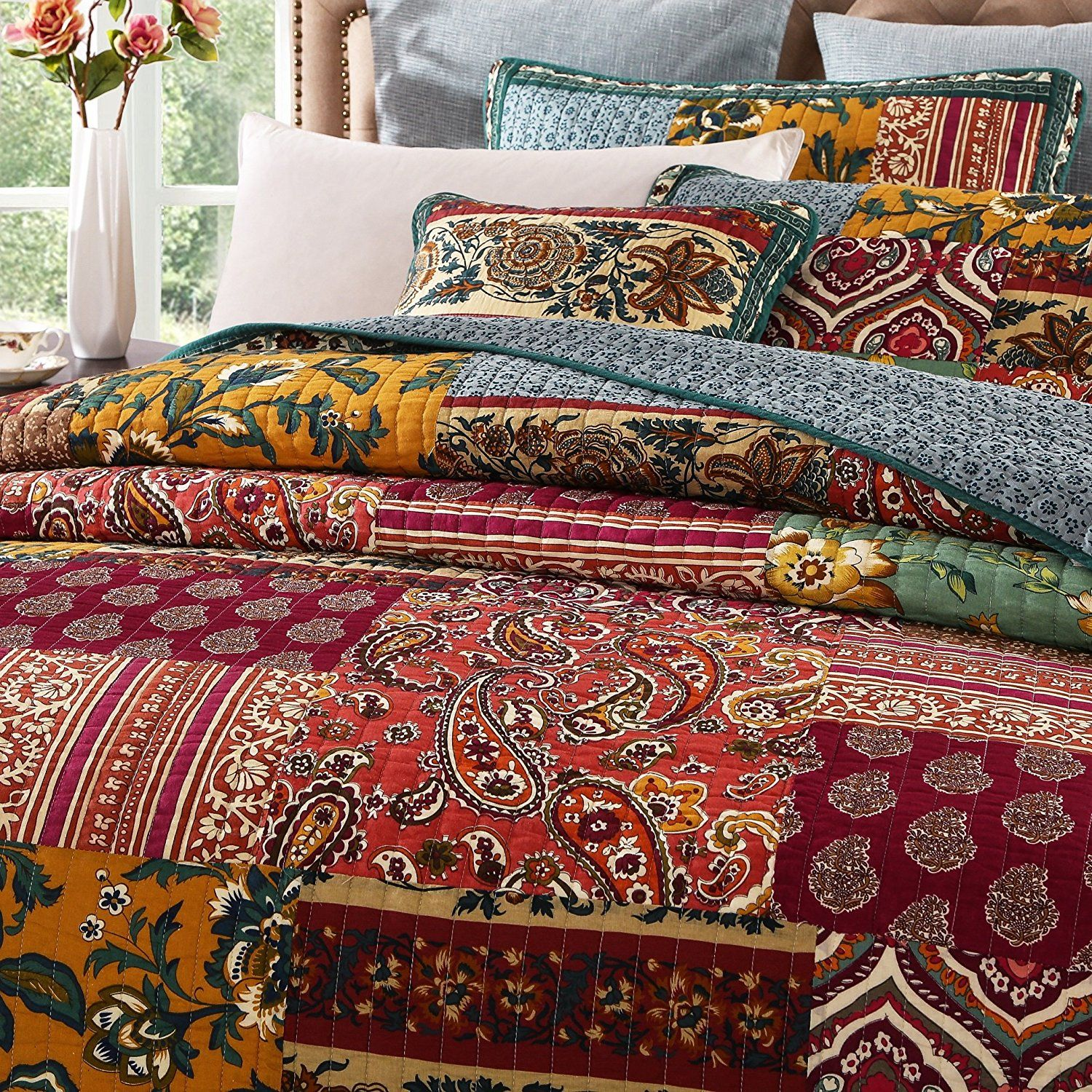 Best Burgundy Bedding Sets Cheap Sale Burgundy Bedding Boho 400 x 300