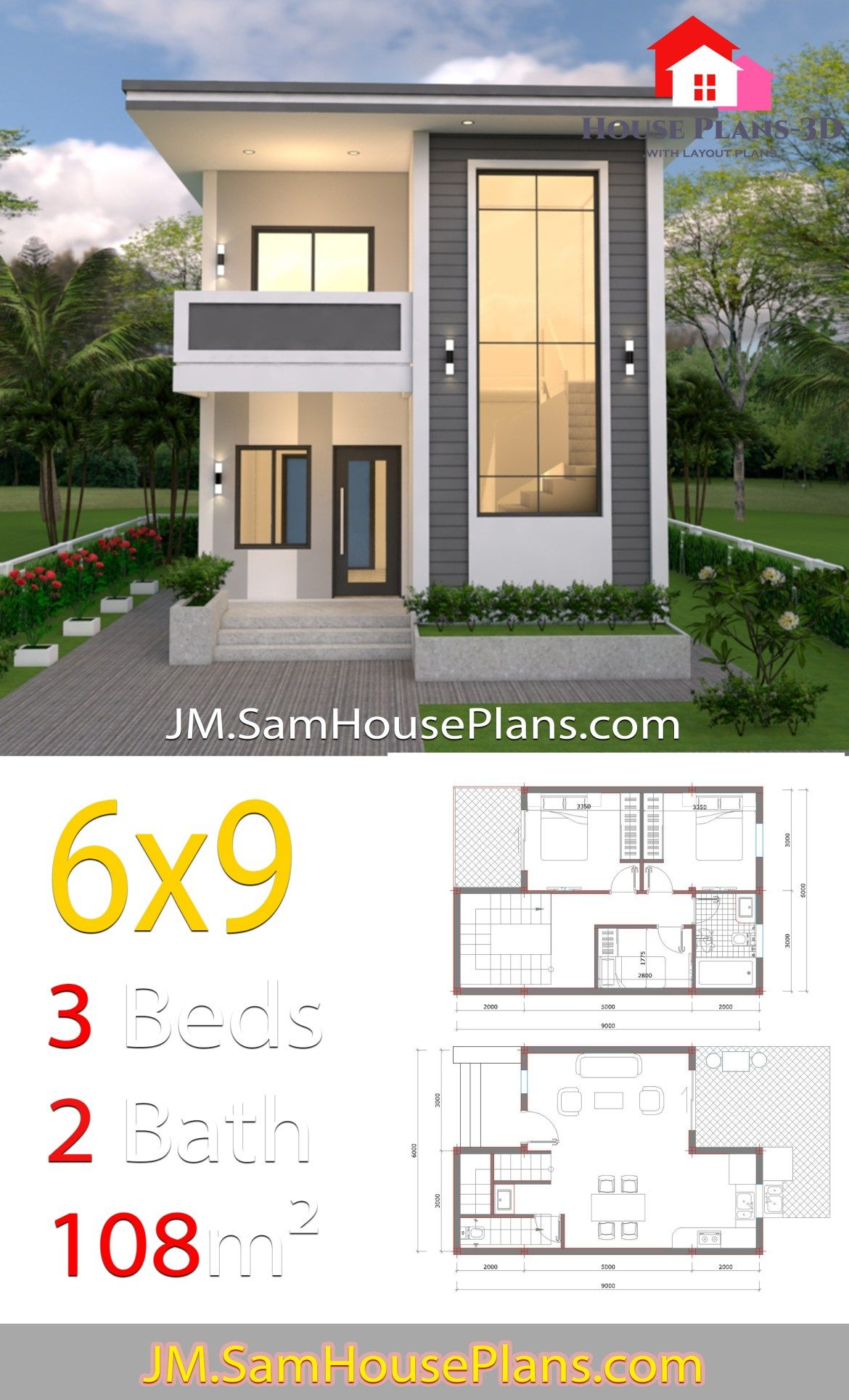 House Design 6x9 With 3 Bedroom Slap Roof House Plans Layout 3d House Plans House Roof House Design