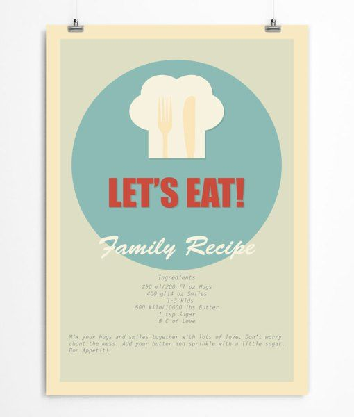 Let's eat! Retro kitchen quote prints. For all fans of the mid-century style.