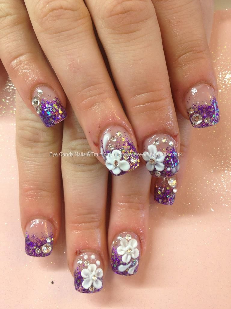 Purple+glitter+sculptured+acrylics+with+3D+flower+nail+art+and+ ...