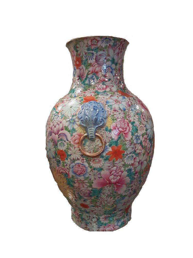 vase porcelain famille rose mille fleurs late qing early republic mark qianlong millefiori. Black Bedroom Furniture Sets. Home Design Ideas