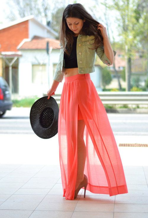Zara coral skirt | hair & beauty | Pinterest | Falda, En vogue y ...
