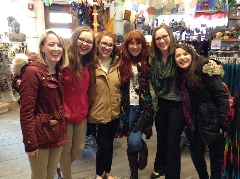 """Sending a shout-out to the University of Maine Renaissance Singers who stopped by to shop at Mexicali Bangor, and kindly obliged when we asked if they'd share an impromptu tune! These lovely ladies sang Mumford & Son's """"Timshel"""" acapella and brightened our day with their melodic magic! Thanks, ladies!! <3"""
