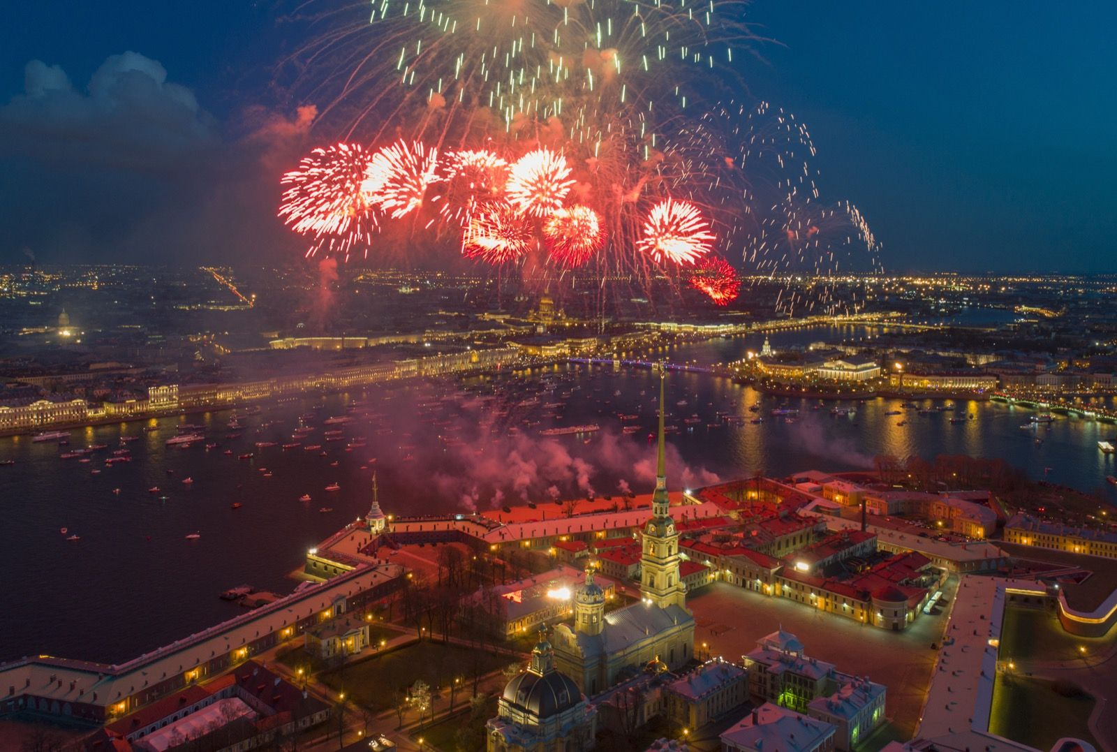 Fireworks explode over the Saint Peter and Paul Fortress, and the Neva River, during celebration of the 72nd anniversary of the defeat of the Nazis in WWII, in St.Petersburg. AP Photo/Dmitri Lovetsky 5.11.17