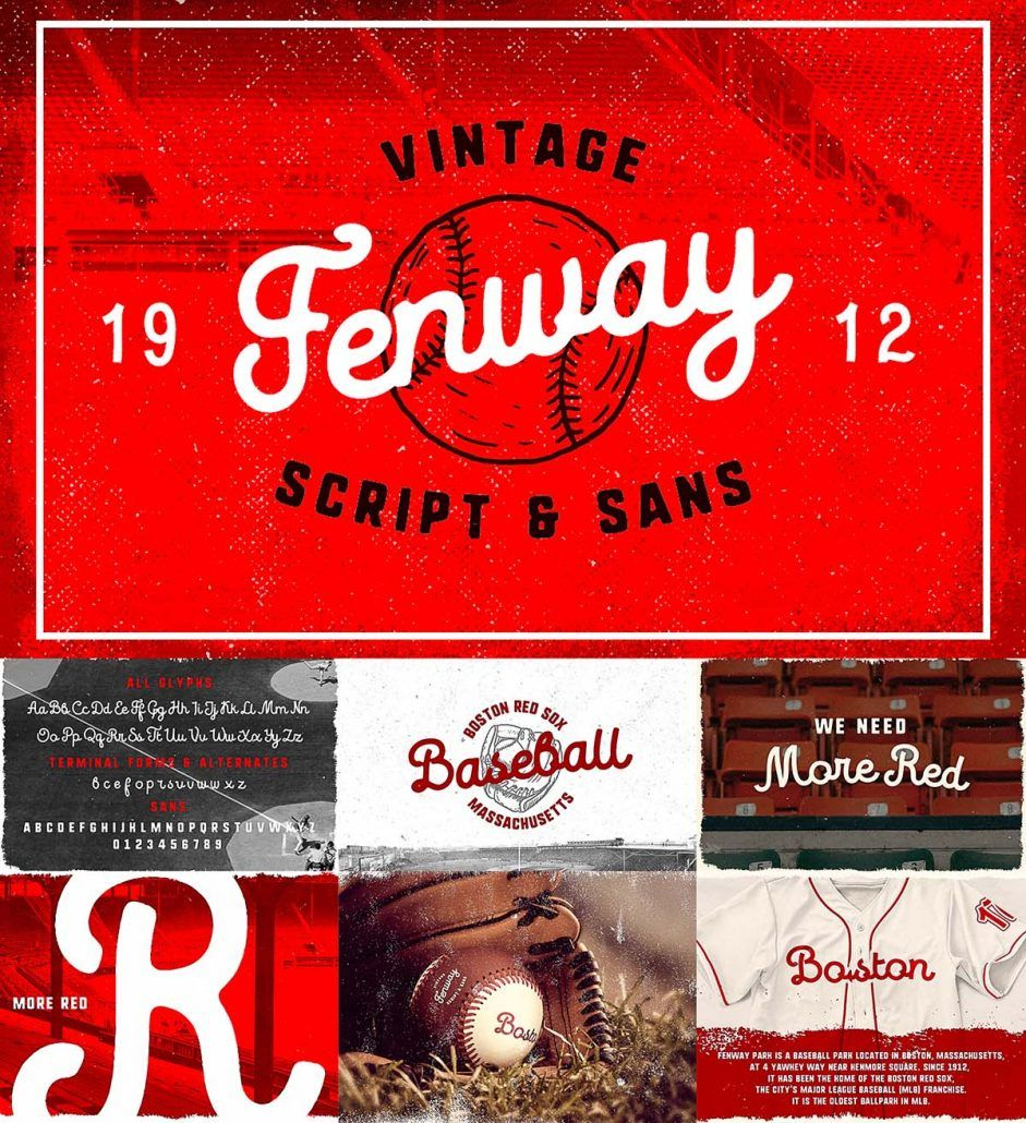 Fenway Font With Bonus Cgispread Old School Fonts Retro Typography Softball Logos