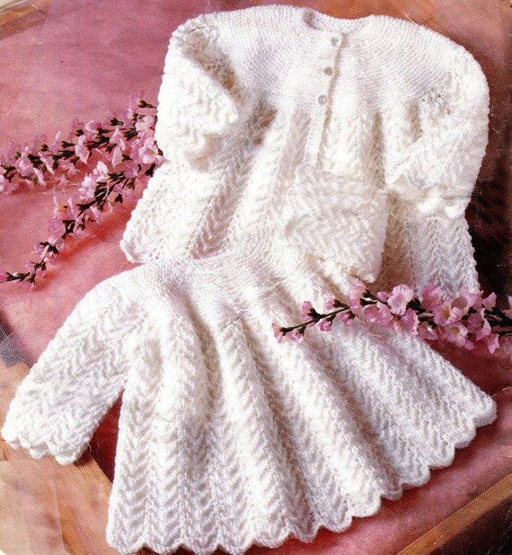 5ca6d5666e2a ADORABLE DRESS   COAT Knitting Pattern Newborn Infant to 12 Months ...