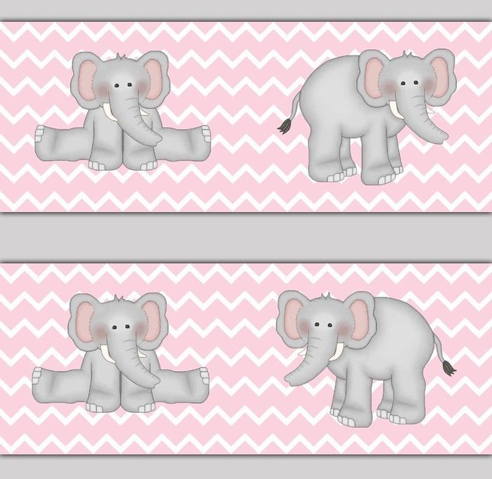 Details about Pink Grey Elephant Nursery Baby Girl