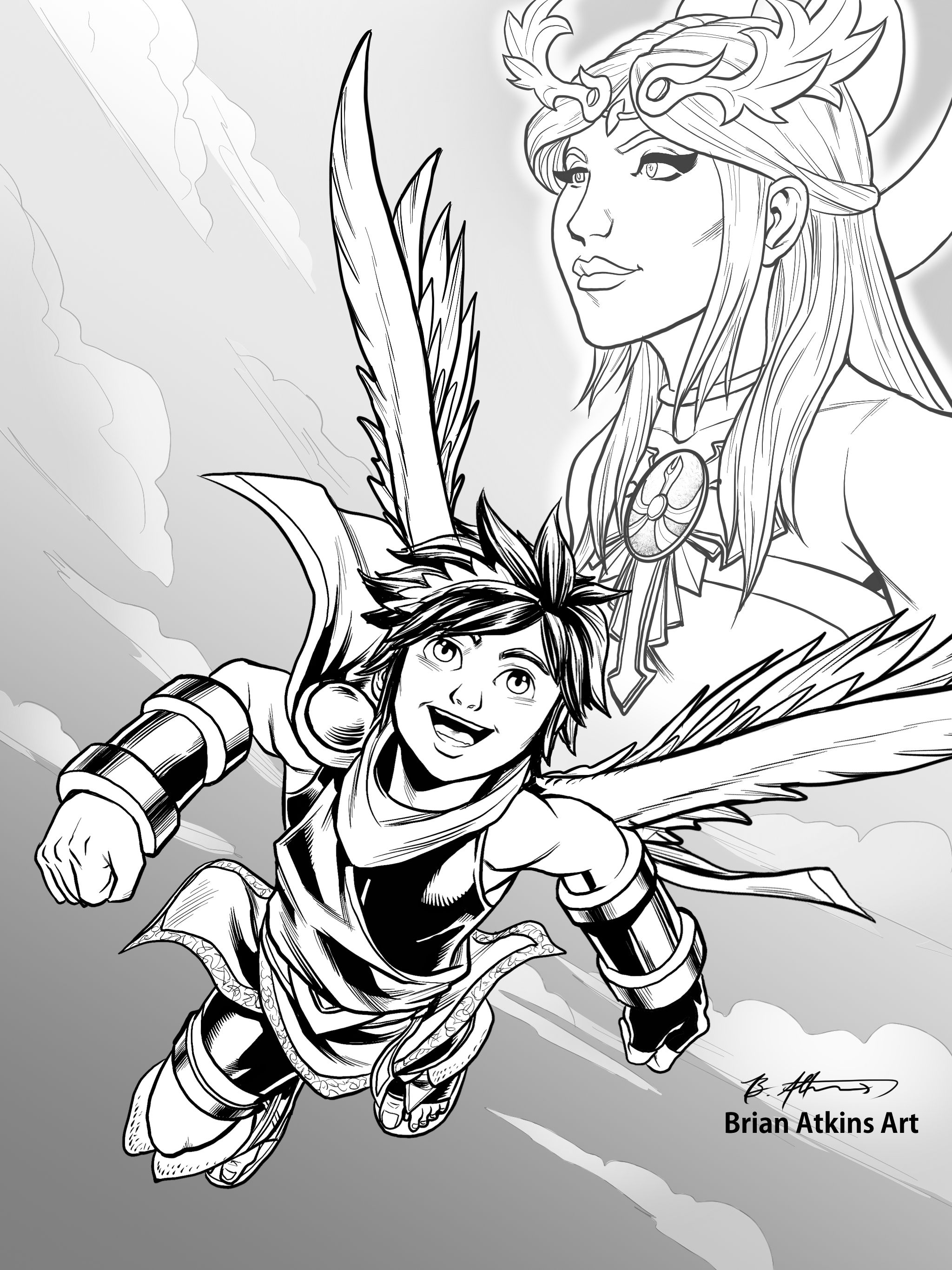 Videogame Themed Inktober Kid Icarus Final W The Goddess Palutena I Finished This Today While Sitting With My Grandma Who Is Dying