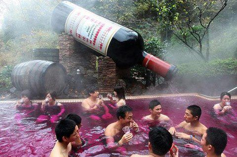 Wine Spa Pool! (Japan)    The Hakone Kowakien Yunessun Hot Springs Amusement Park  Spa Resort, located at the base of Mount Fuji, is one of the only places outside your Uncle's bathtub where you can fully immerse yourself in a vat of steaming red wine.    The red wine pool features a 3.6m tall bottle of wine that pours Beaujolais Nouveau into the pool throughout the day.