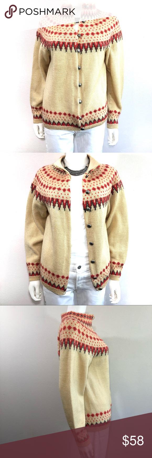 6f26432f114cc6 Vintage Handmade Norway Wool Fair Isle Cardigan VINTAGE • William Schmidt  Co Oslo • Wool Norwegian Classic Fair Isle Cardigan Sweater Women s Size  Medium ...