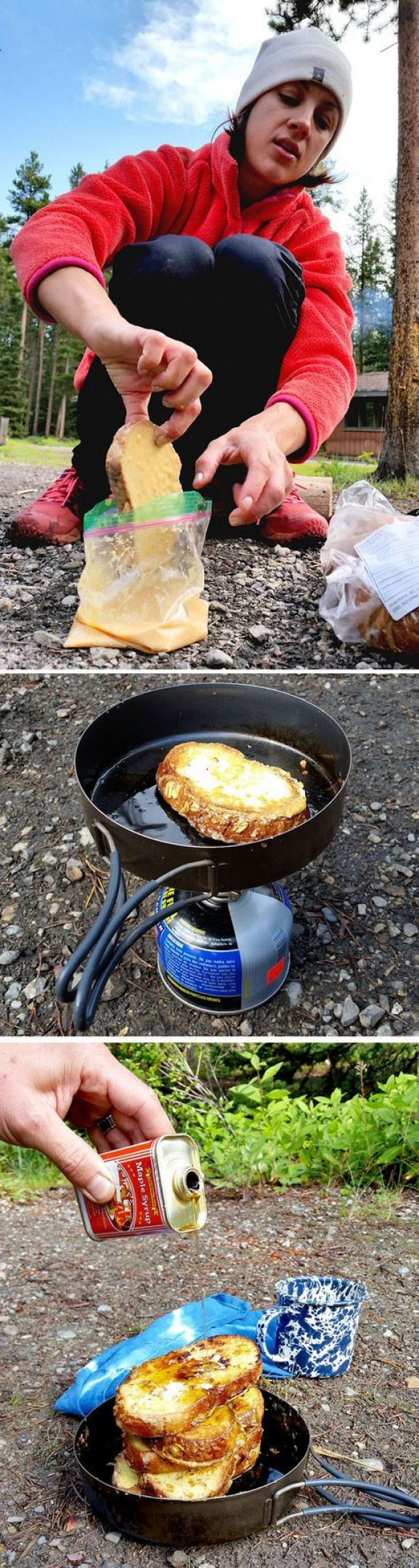 Backpacking French Toast This turns out great with dehydrated eggs. More