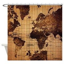 Vintage world map shower curtain for guest room pinterest vintage world map shower curtain for sciox Gallery