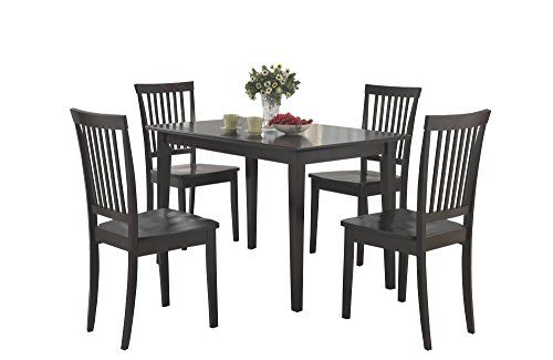 Coaster 5Piece Dining Set Table Top With 4 Chairs Cappuccino Wood    Visit  The Image Link More Details. Note:It Is Affiliate Link To Amazon.