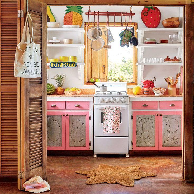 Bold Colors Apartment Kitchen Decorating Ideas: Bohemian Jamaican Beach Cottage