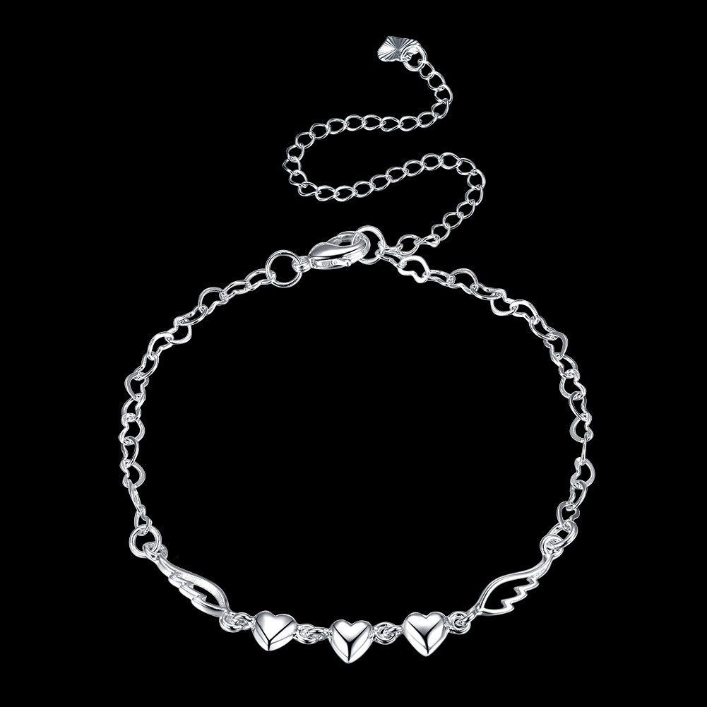 585d30c3a4 Womens 925 Sterling Silver Love Heart Link Chain Foot Ankle Bracelet #AB02