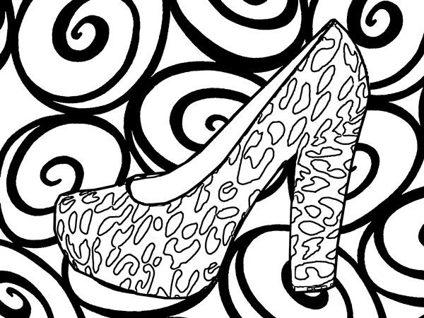 Womens High Heel Shoes Abstract Coloring Pages For Adults Printable Page Fashion Book