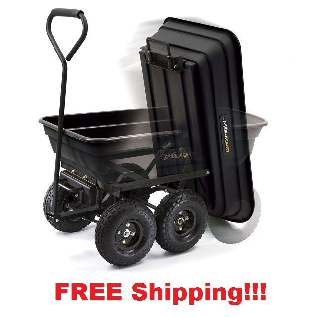 600 Lb Wagon Cart W Trailer Pull Lawn Garden Utility Dump Wheelbarrow Wagon Gorilla Dump Cart Yard Wagon Wheelbarrow