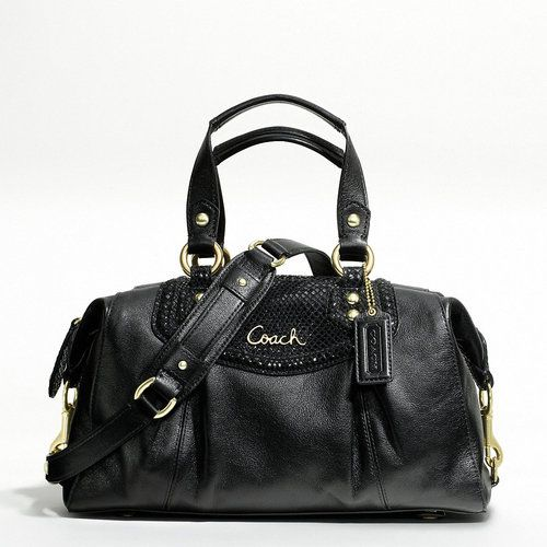 d93524096 COACH ASHLEY LEATHER SATCHEL, Style #F19247, B4/Black | Coach Bags ...