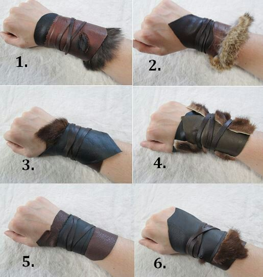 Re enactment-LARP-SCA-Cosplay-REAL BROWN LEATHER WITH FAKE FUR ARM BRACER//GUARDS