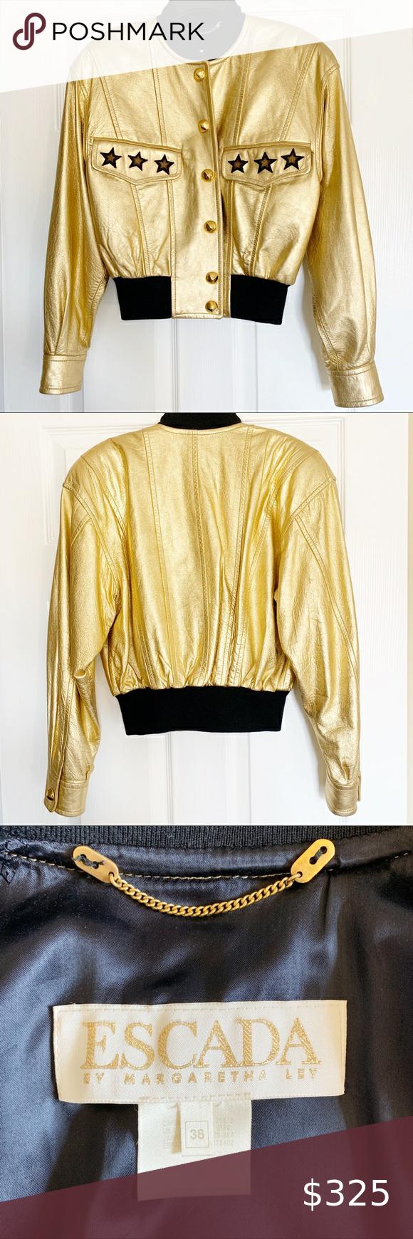 Escada Vintage Leather Jacket Vintage Leather Jacket Leather Jacket Gold Bomber Jacket [ 1740 x 580 Pixel ]