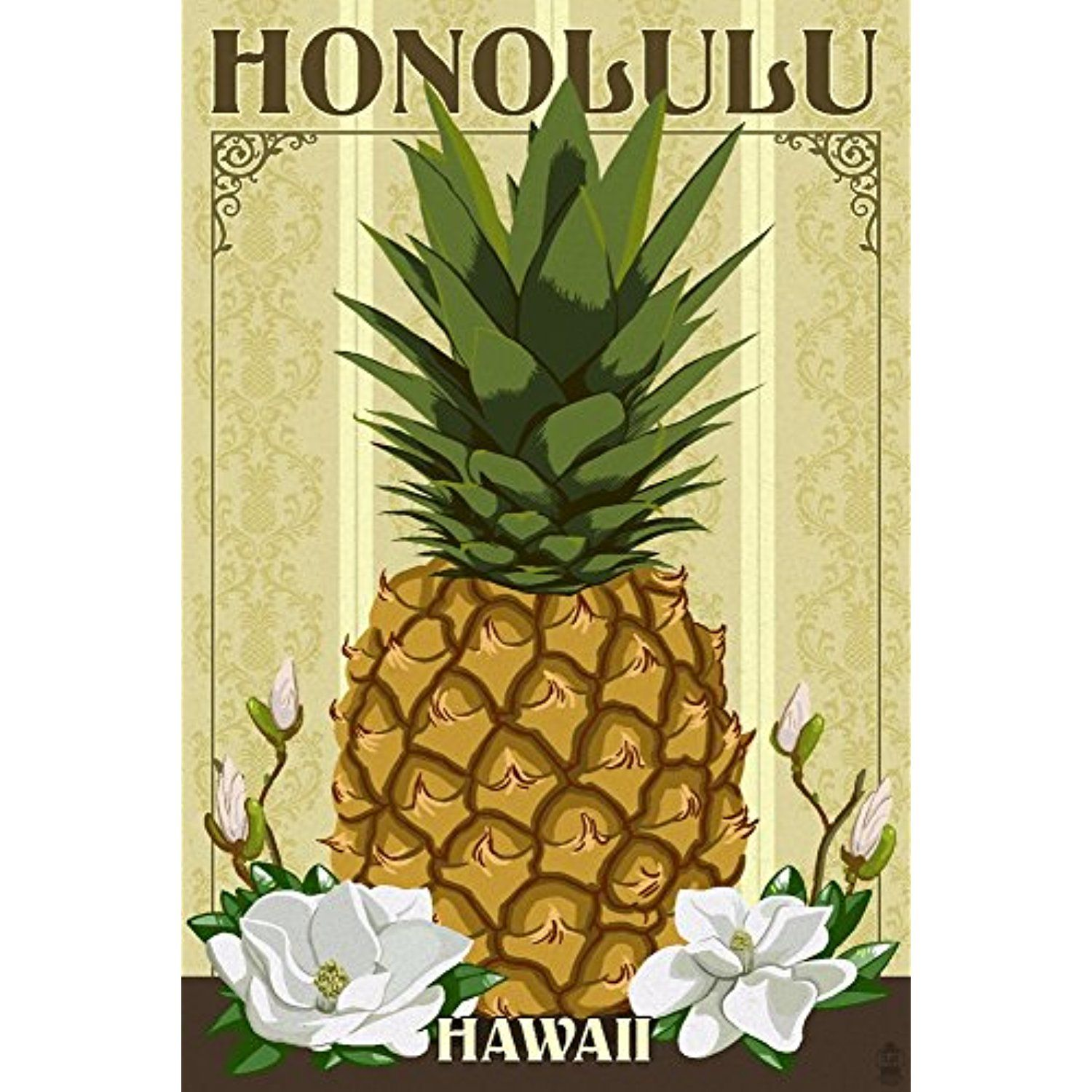 Honolulu, Hawaii - Colonial Pineapple (12x18 SIGNED Print Master Art ...