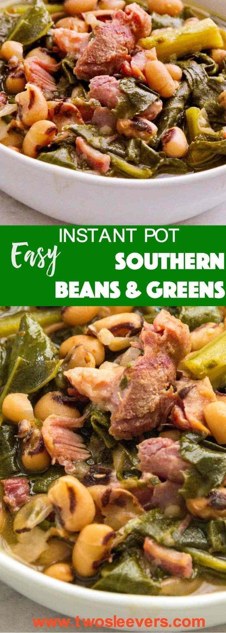 Easy Instant Pot Souther Beans & Greens   Insant Pot Recipe   Instant Pot DInner   Instant Pot Thanksgiving   Thanksgiving Recipe   Ham and Beans Recipe  