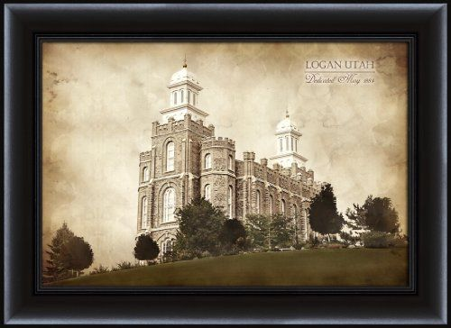 Lds mormon 15 x 20 framed vintage logan temple lds wall art lds wall