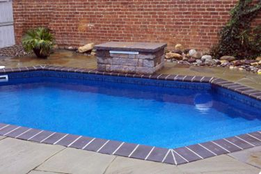 a picture of a rectangle inground swimming pool with grecian corners liner stairs water - Rectangle Pool With Water Feature