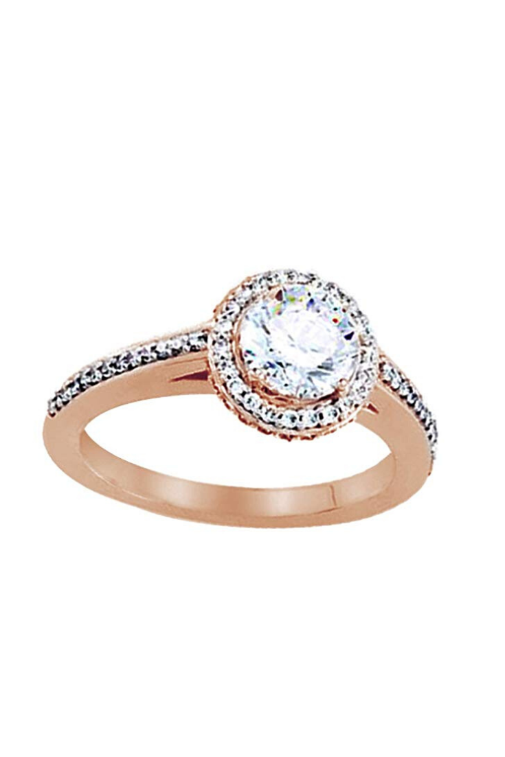 Cyber Monday Deals Round Shape White Diamond Halo Style Engagement Band Ring In 14k Solid Gold In 2020 Band Engagement Ring Halo Diamond Diamond