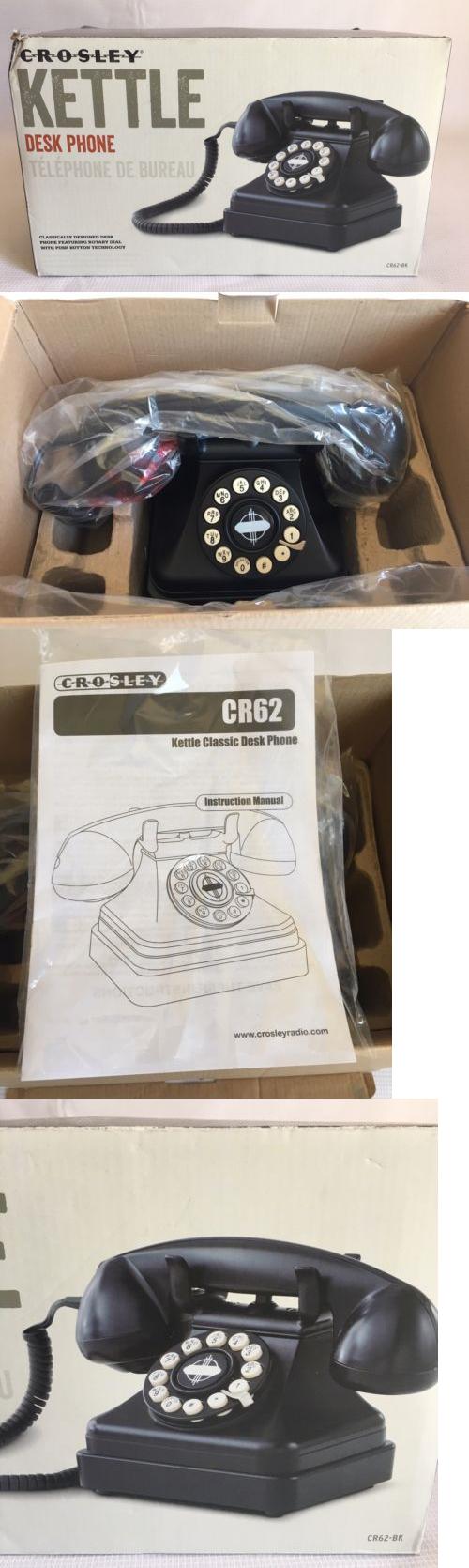 Corded Telephones Crosley Cr62 Bk Kettle Classic Push On Technology Desk Phone Black