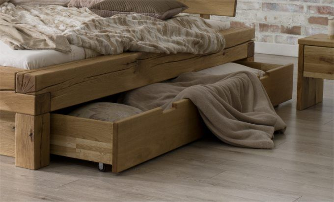 Lit 2 places avec tiroir en chêne naturel letto | Lit 2 places, Lit rangement, Lit bois