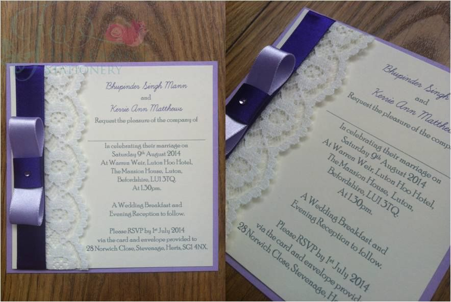 Cadbury Purple Wedding Invitations: Lilac And Cadburys Purple Lace Post Card Wedding