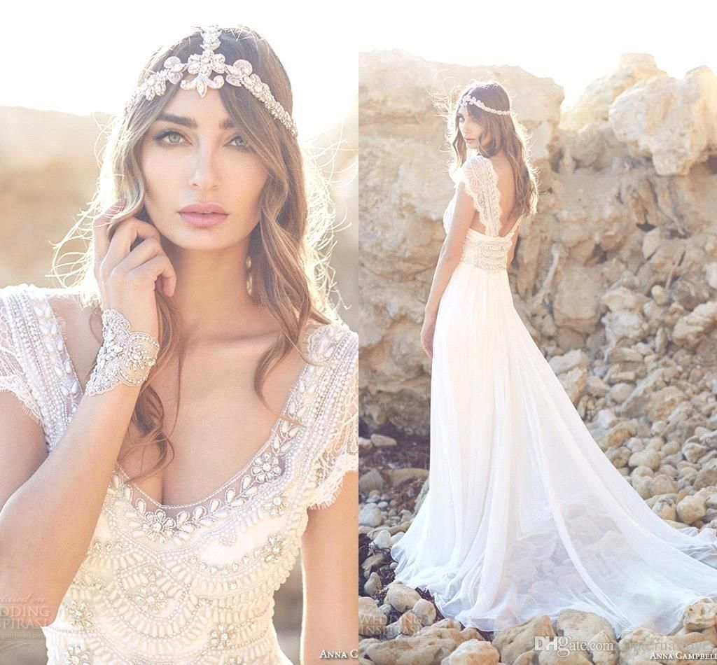 2016 New Romantic Bohemian Lace Wedding Dresses 2015 Beaded Top Short Sleeves V Neck Chiffon Floor Length Summer Beach Bridal Gowns Custom