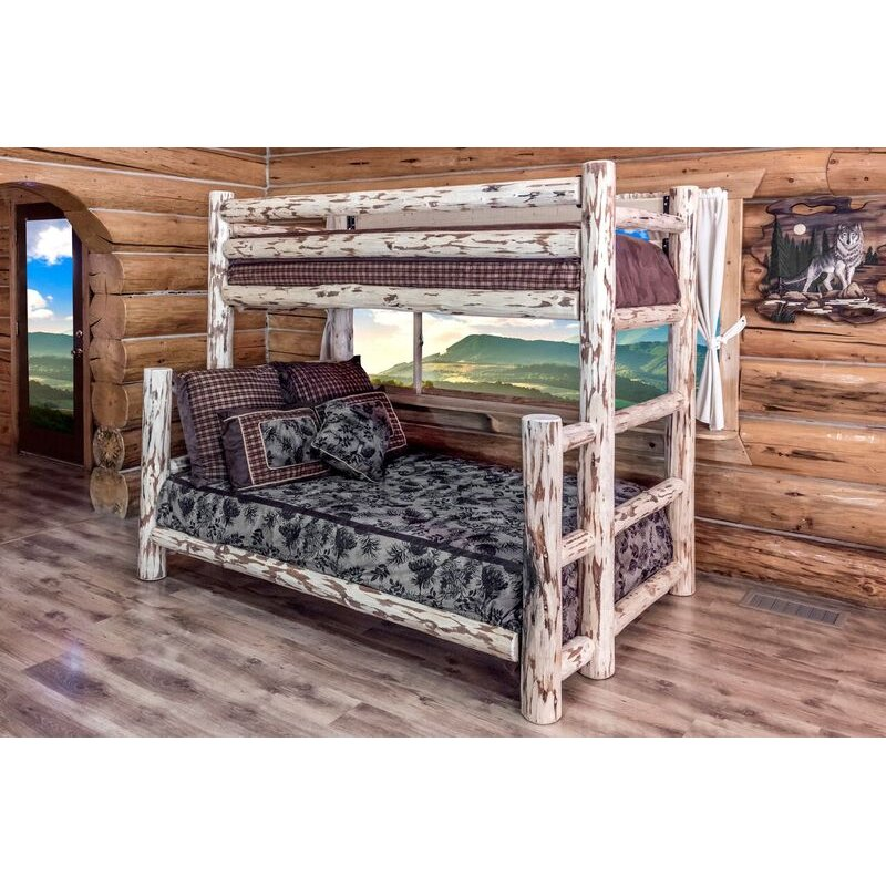 Clear Lacqured Log TwinoverFull Bunk Bed Montana in