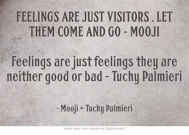 FEELINGS ARE JUST VISITORS , LET THEM COME AND GO - MOOJI Feelings are just feelings they are neither good or bad - Tuchy Palmieri