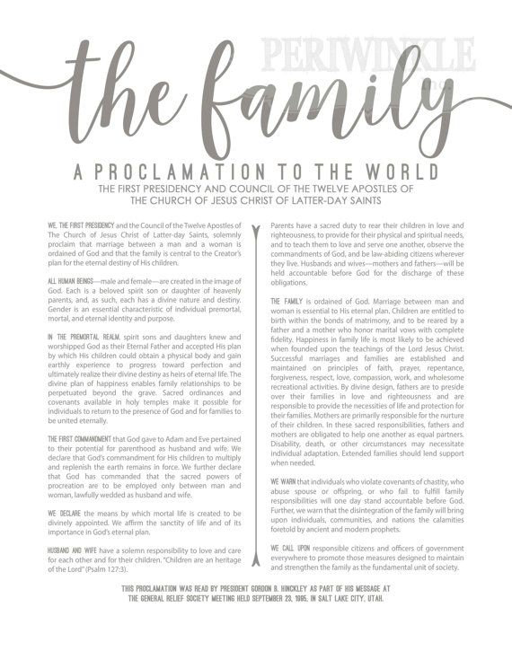 photograph relating to The Family a Proclamation to the World Free Printable named LDS Household Proclamation-Gray Terms-Printable-A number of Dimensions
