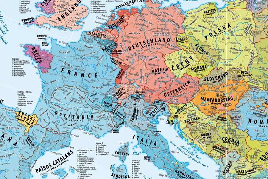 Carte Deurope Avec Zoom.Poster Cartes Des Peuples D Europe Map Of European Peoples