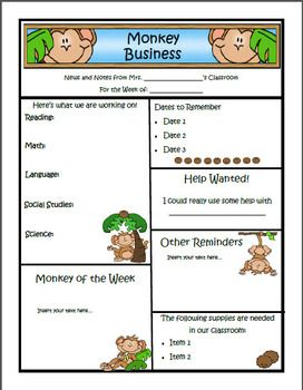 monkey theme newsletter template word classroom decor