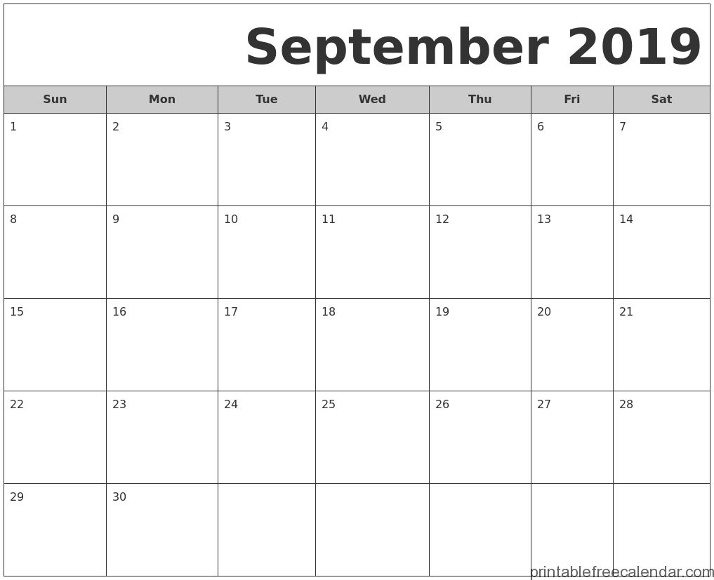 Free Printable September 2019 Calendar Templates Printable Free