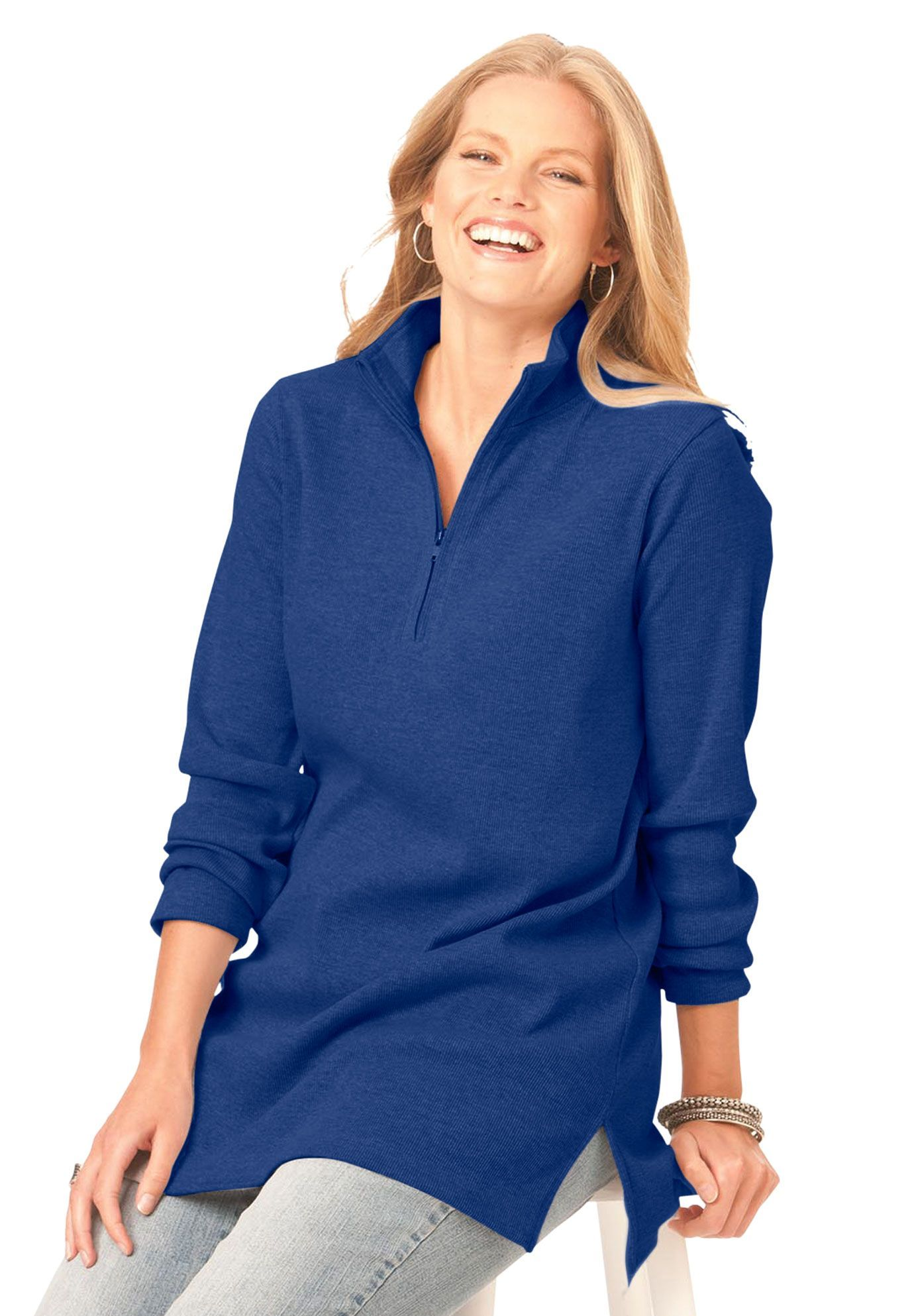$25 Plus Size Top, tunic in soft rib knit image