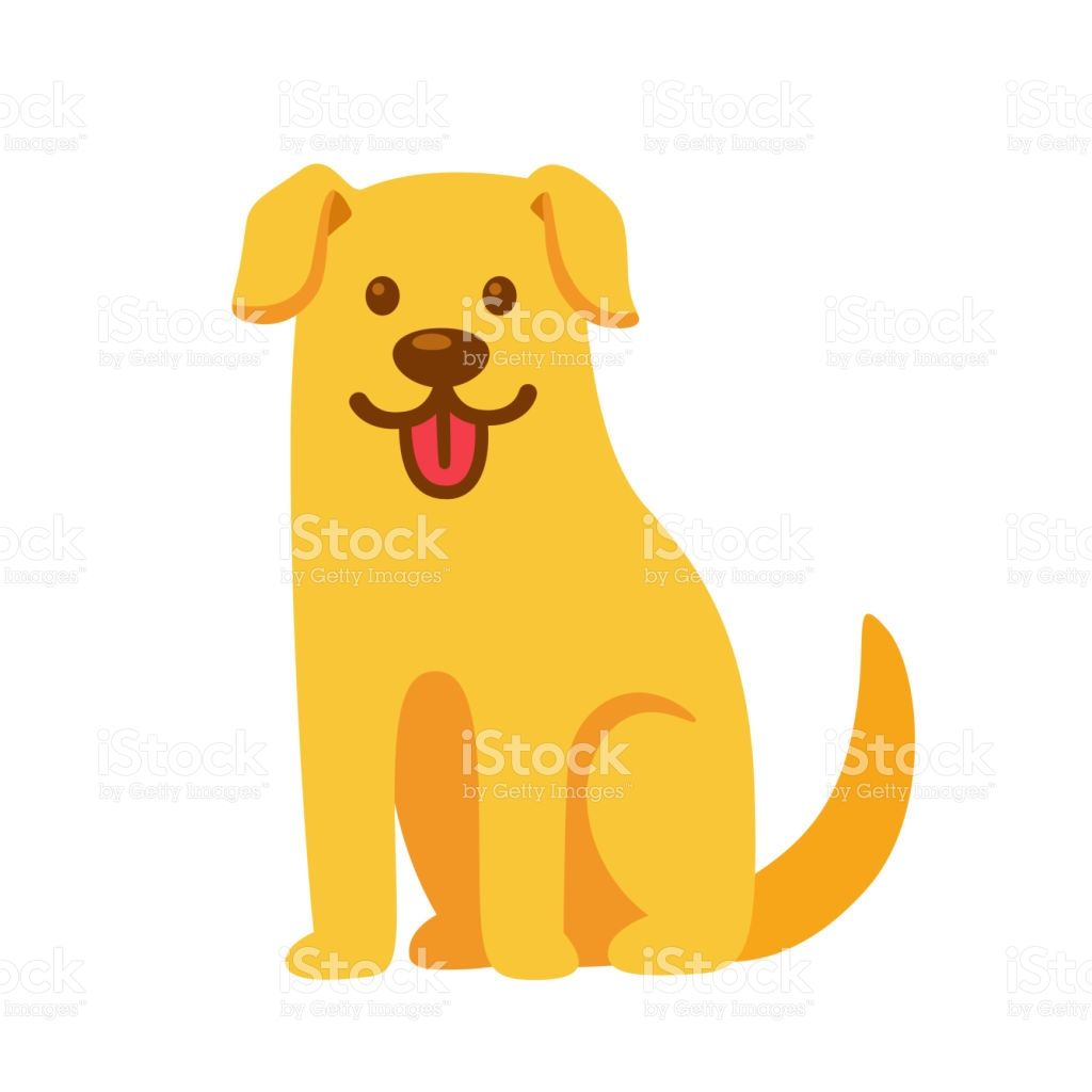 Funny Cartoon Golden Retriever Drawing Cute Pet Labrador Vector
