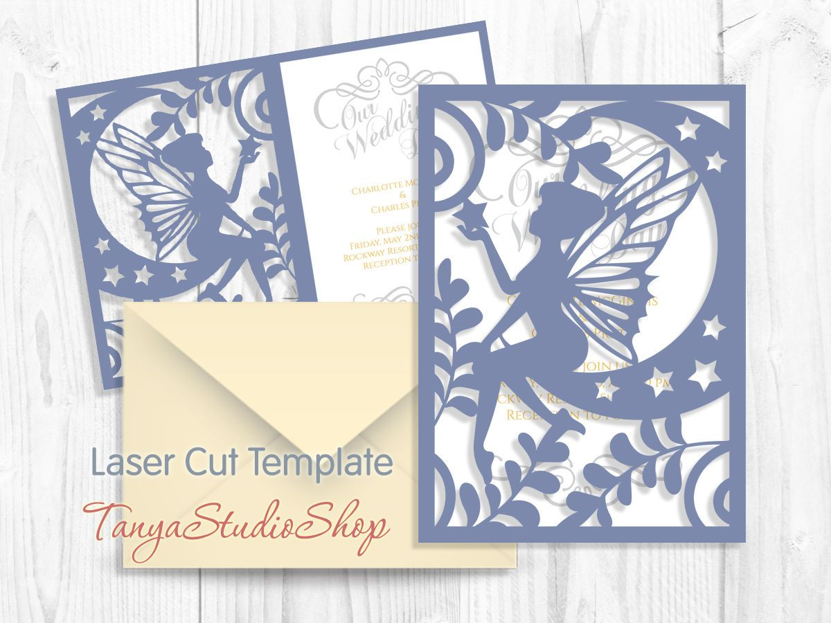 Fairy Card - SVG, DXF, ai, eps - Pattern Card Templates - Laser ... for Laser Cut Designs Paper  126eri
