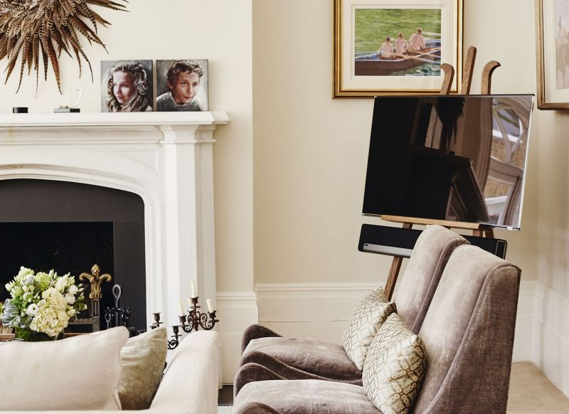 Traditional Living Room Tv traditional living room with artist's easel tv stand | deco