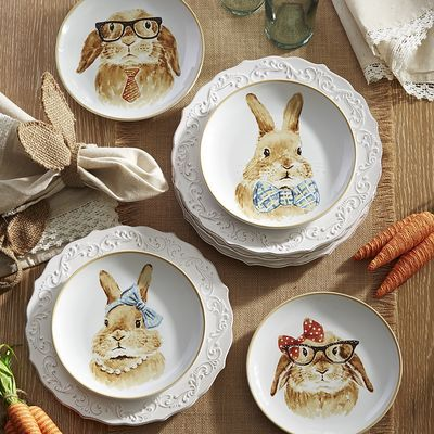Easter Bunny Salad Plate Set I Think These Are Adorable Especially The Ones Wearing