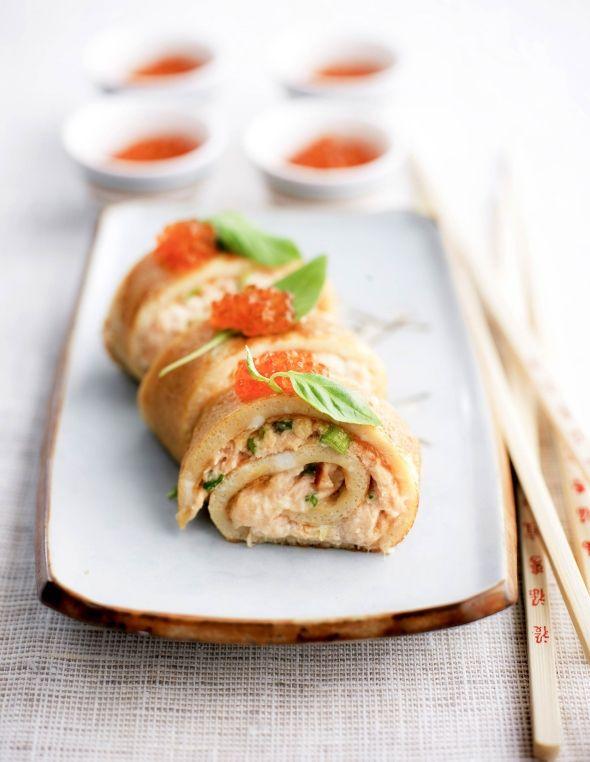 Omelette roll in japanese style - Japanilainen munakaskäärö - noutopöydän herkku, resepti – Ruoka.fi