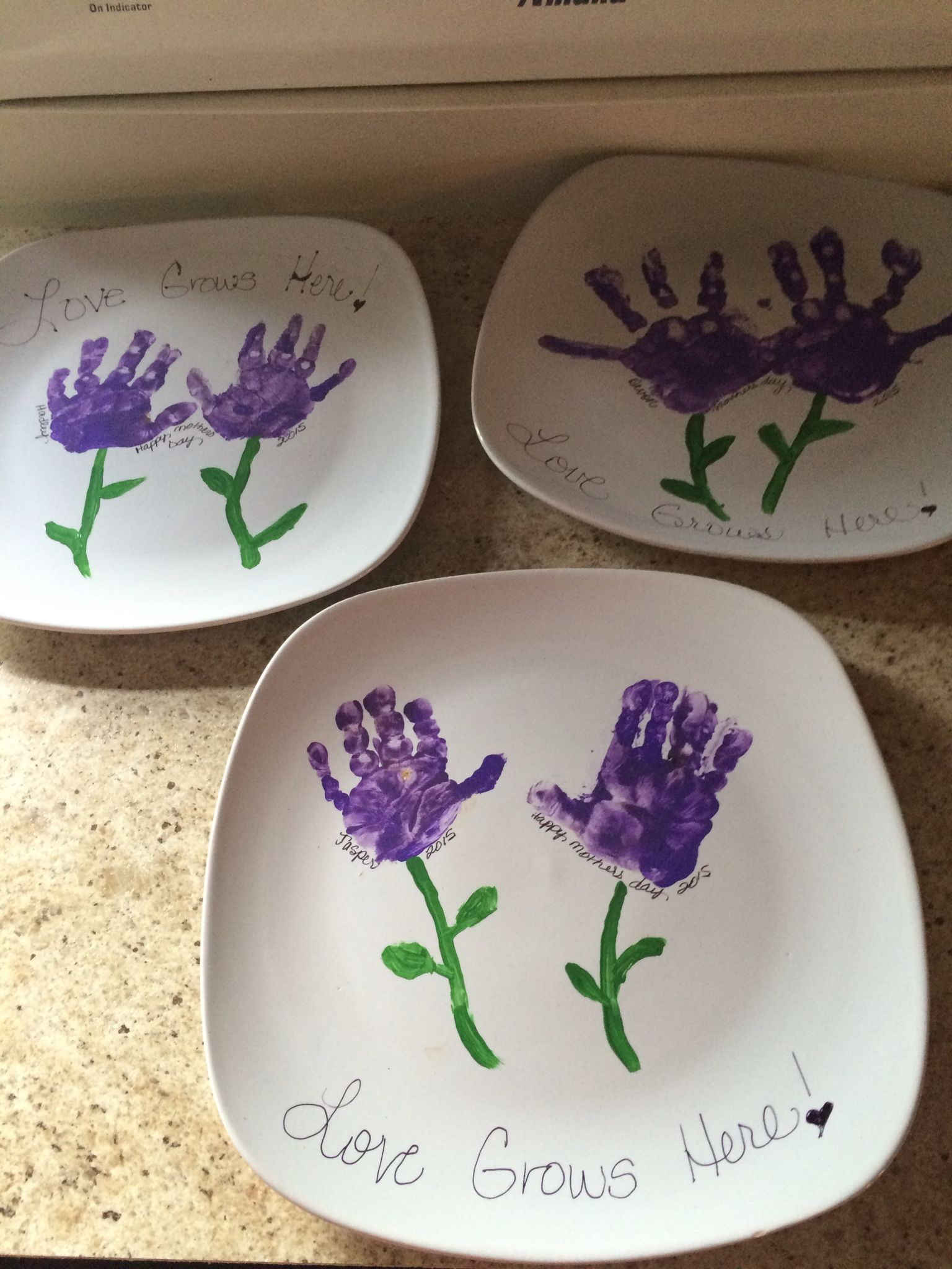 Mothers Day Ceramic Plates From Dollar Tree Acrylic Paint Walmart After Painting Flowers Used Permanen Hand Print Tree Mothers Day Crafts Handprint Crafts