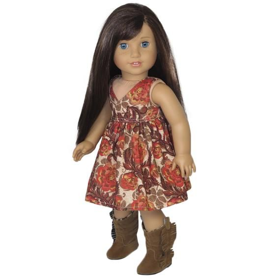 Dress.  Fits American Girl Doll.  Clothes for 18 Inch Dolls.  Fall Colors Floral Print.  18 Inch Dol #18inchdollsandclothes